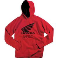 Officially licensed Honda ApparelFleece hoody is 80/20 cotton poly blendScreen printed Honda wing and Fox logo on front Front pocket